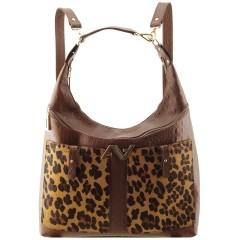 Bolsa Mochila em Couro Chocolate com Pêlo Leopardo