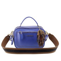 Bolsa Pequena de Couro Legítimo Azul