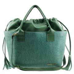 Bolsa Saco em Couro Legítimo Verde