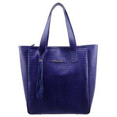 Bolsa Sacola Couro Legítimo Azul