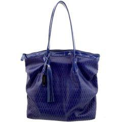 Bolsa Shopping Bag Couro Azul