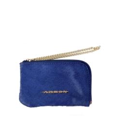 Bolsinha em Couro com Corrente Pêlo Azul Marinho