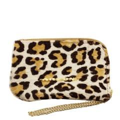 Bolsinha em Couro com Corrente Pêlo Leopardo
