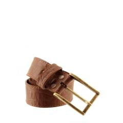 Cinto Couro Chocolate Fivela Ouro Velho