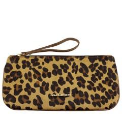Clutch Envelope Grande de Couro Pêlo Leopardo