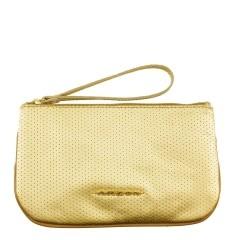 Clutch Envelope Pequena de Couro Legítimo Furadinho Dourado