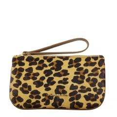 Clutch Envelope Pequena de Couro Legítimo Pêlo Leopardo