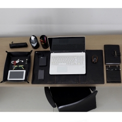 Home Office em Couro Preto com Pesponto Whisky
