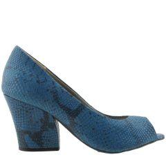 Peep Toe em Couro ARZON Azul