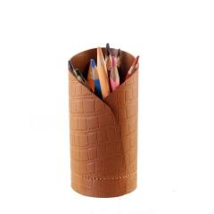 Porta Lápis de Couro Legítimo Caramelo