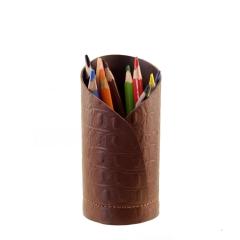 Porta Lápis de Couro Legítimo Chocolate