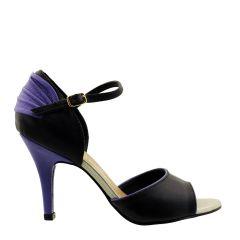 Sandália em Couro com Salto Fino Preta e Lilás