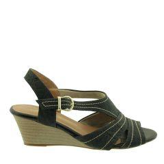 Sandália em couro Salto Anabela Preto Fosco