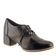 Sapato Oxford Feminino de Couro Preto