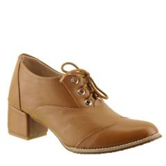 Sapato Oxford Feminino de Couro Telha