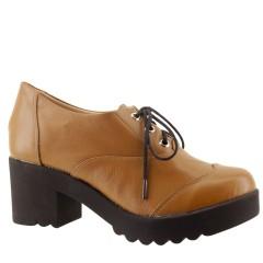 Sapato Oxford Feminino Plataforma Telha