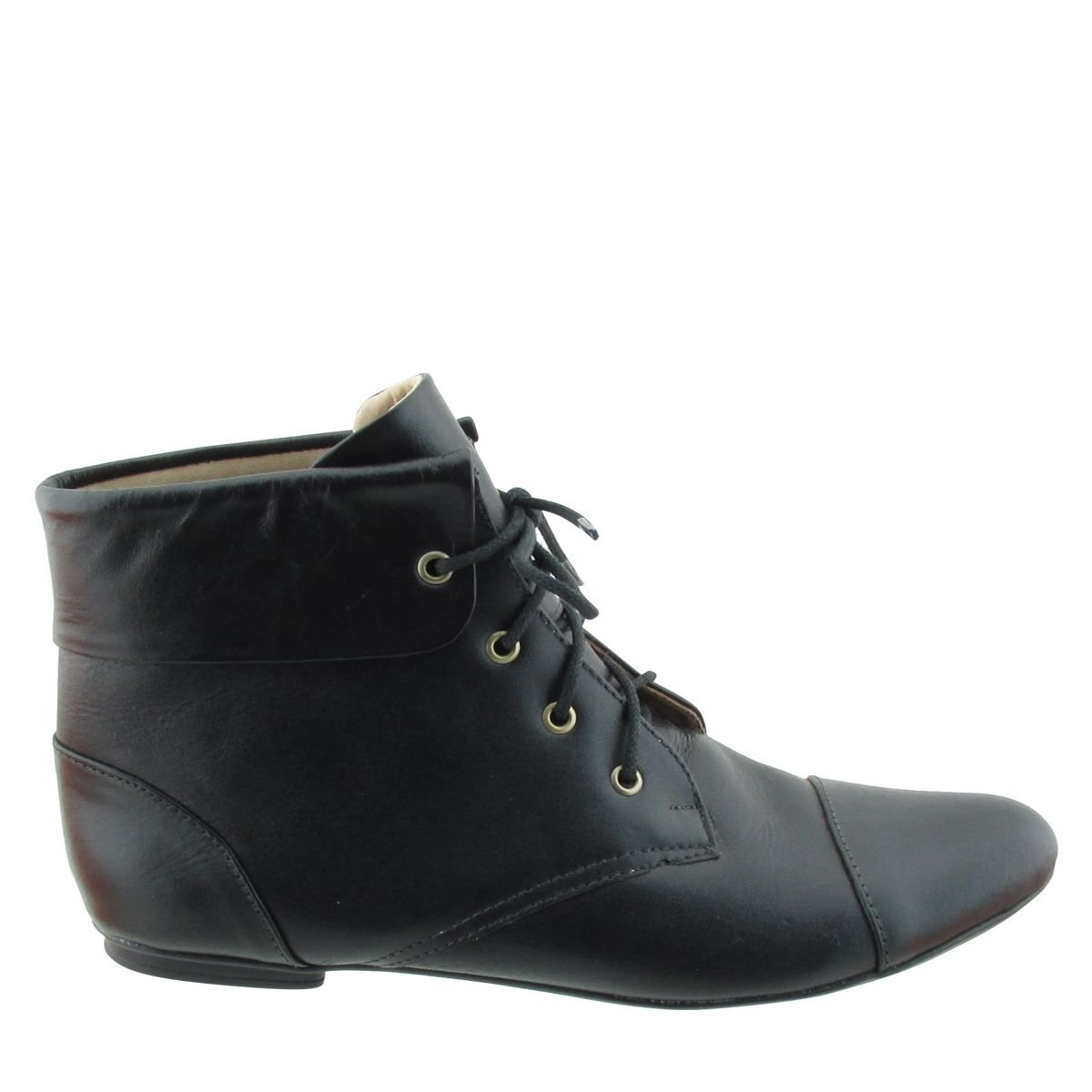 Ankle Boot Dobra Cadarço Preta