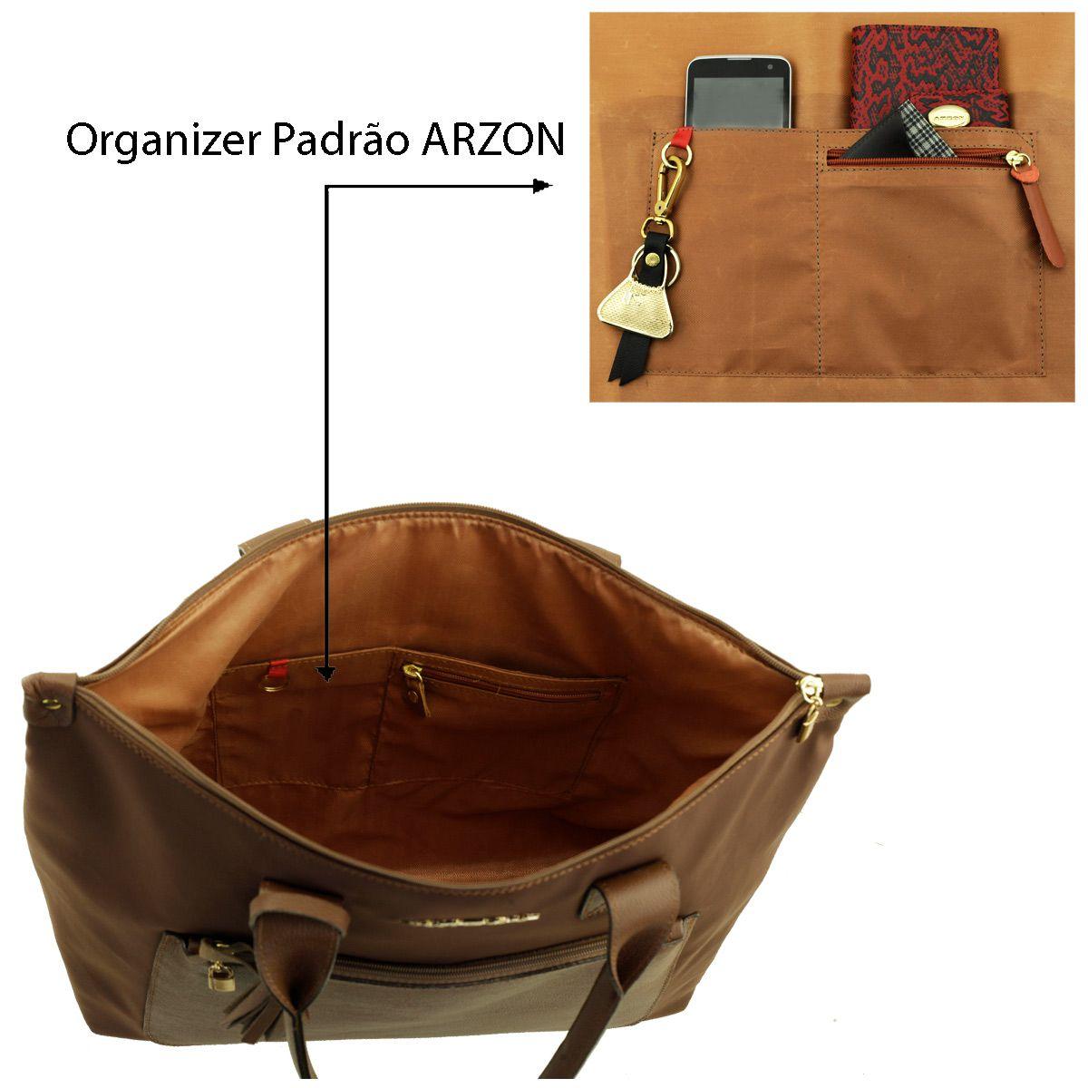 Bolsa ARZON de Nylon com Couro Chocolate
