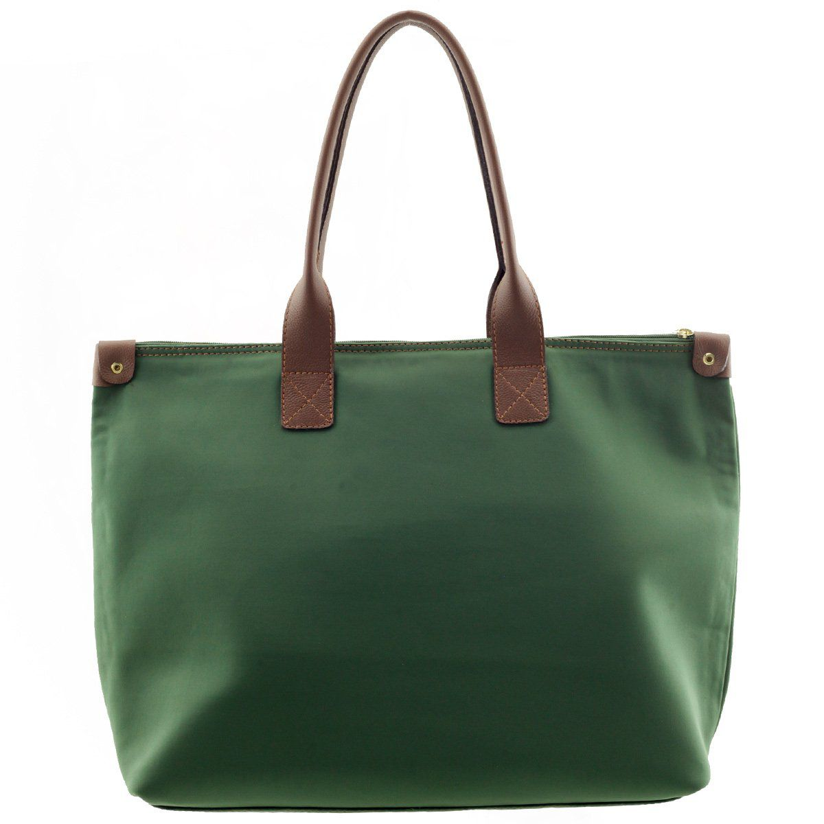 Bolsa ARZON de Nylon Verde com Chocolate