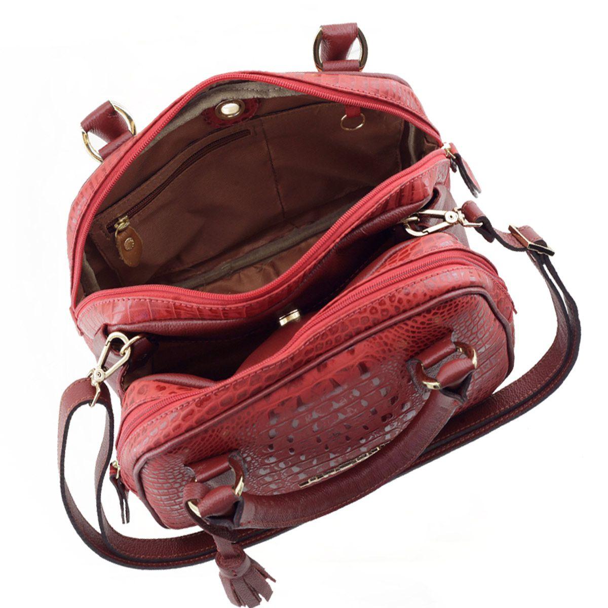 Bolsa Baú de Couro Vermelho