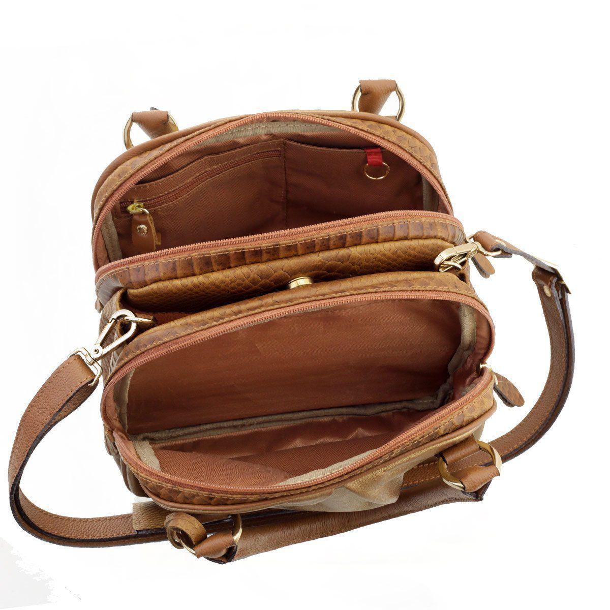 Bolsa Baú de Mão Bronze com Caramelo