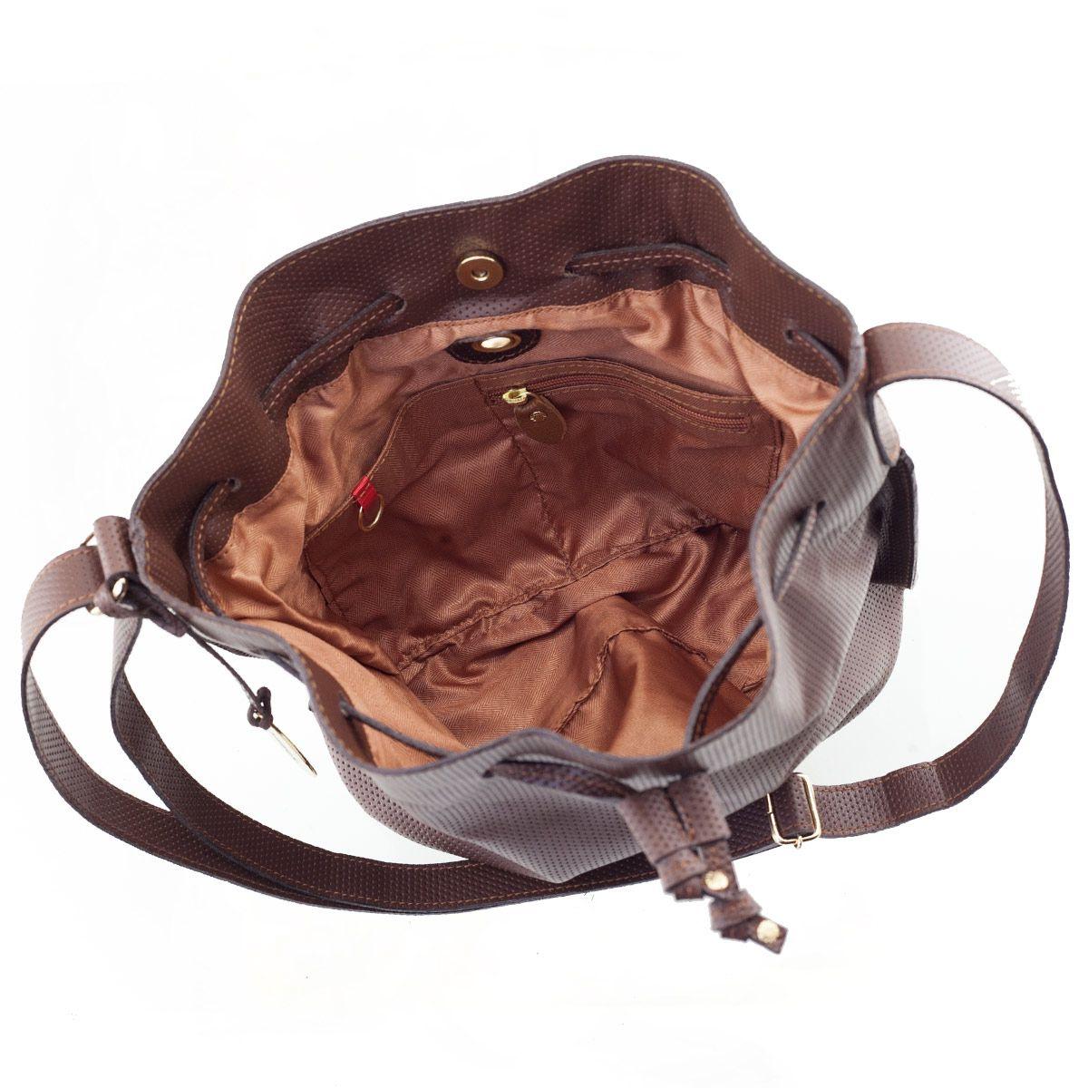 Bolsa Bucket em Couro Chocolate
