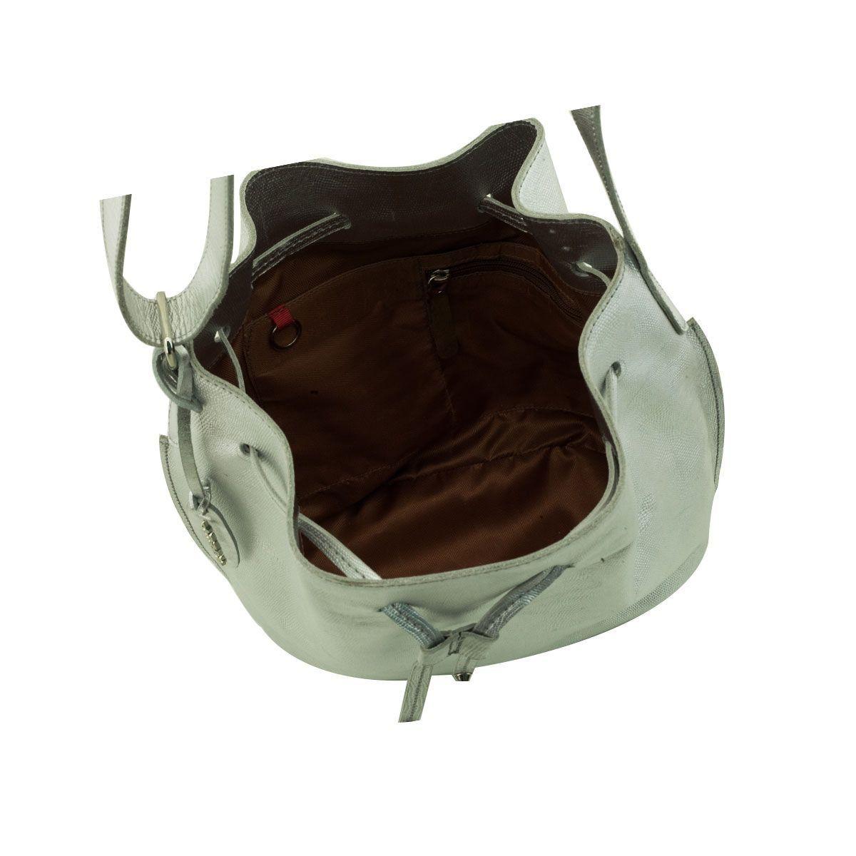 Bolsa Bucket em Couro Prata