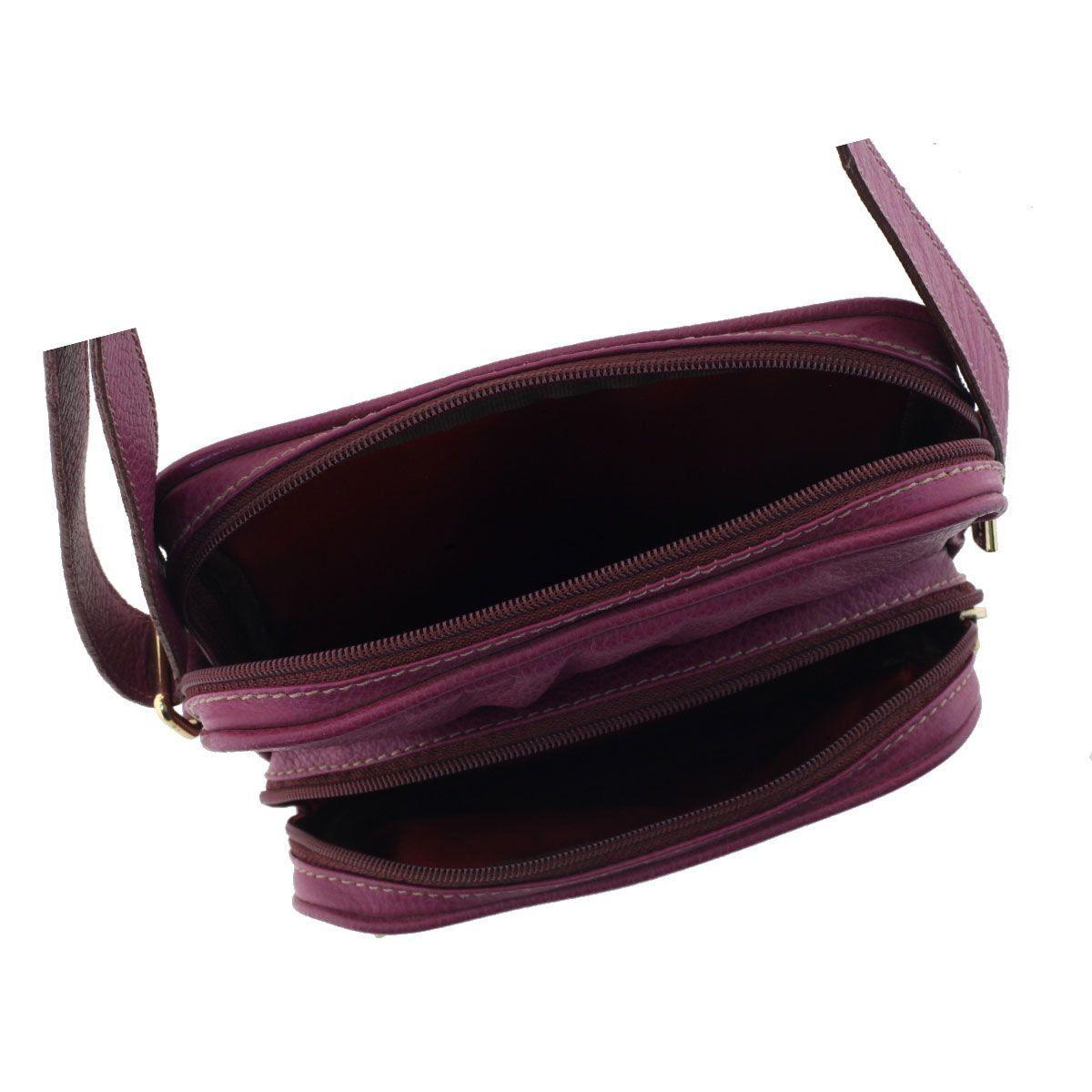 Bolsa Carteiro de Couro Púrpura