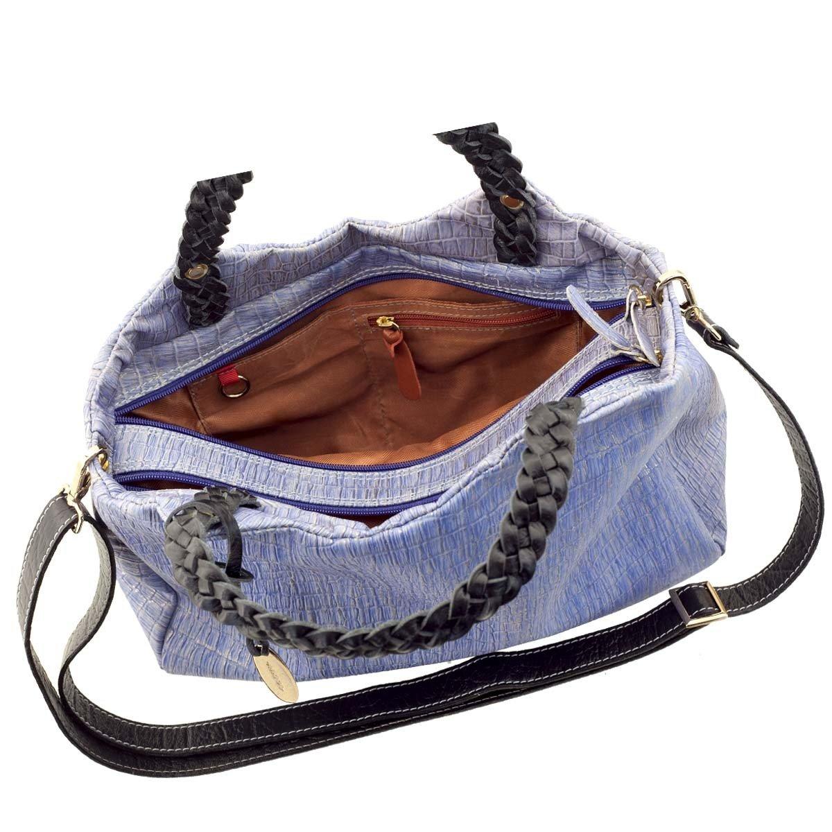 Bolsa Couro Legitimo com Alça Trançada Azul