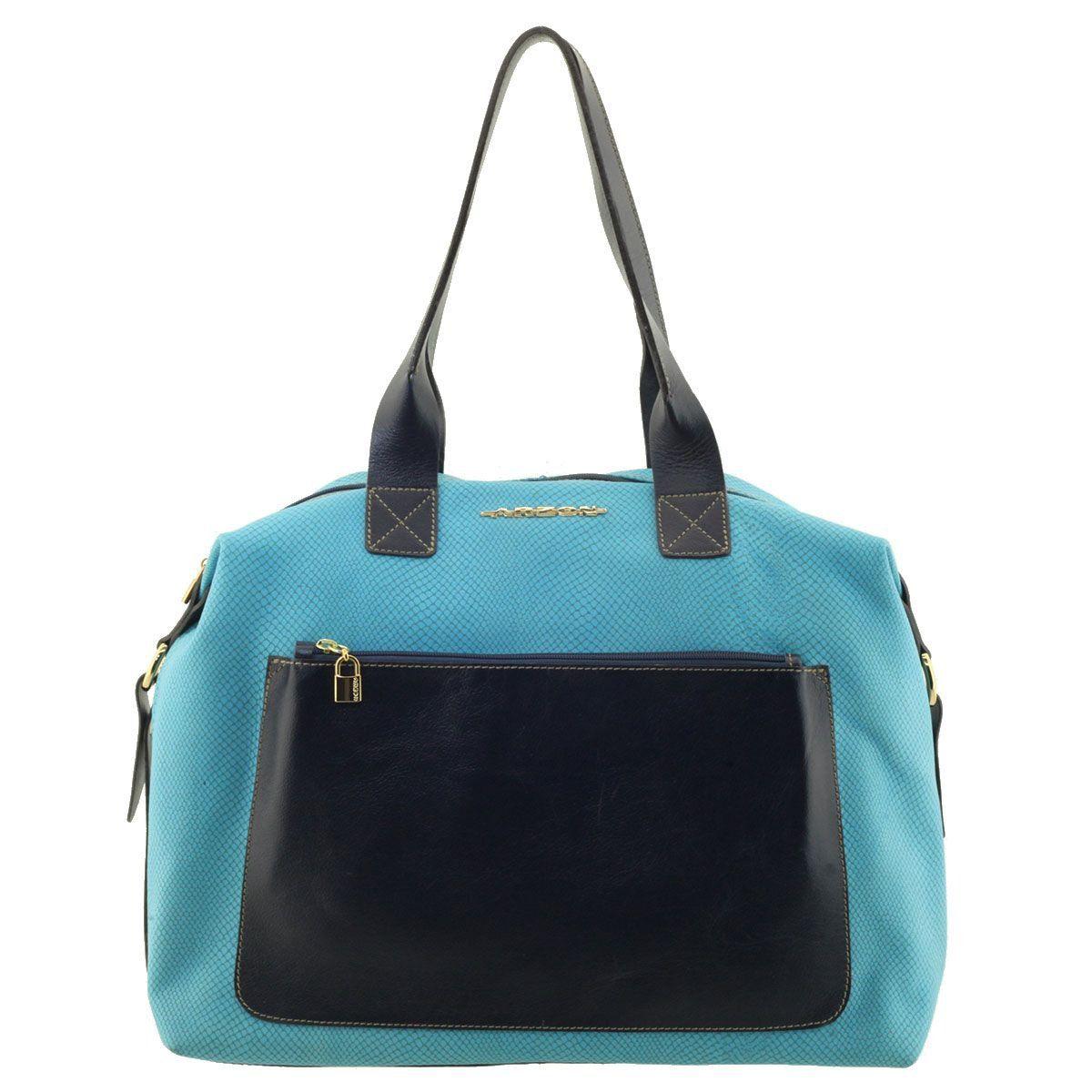 Bolsa com Bolso Externo Azul