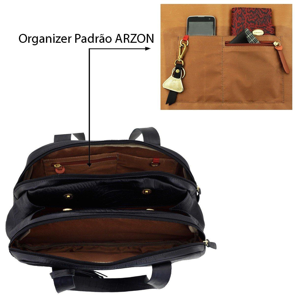 Bolsa com Divisórias ARZON Preto Fosco