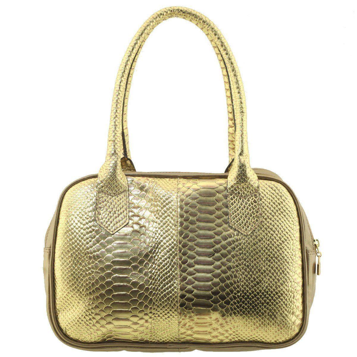 Bolsa com Divisórias Couro Dourado