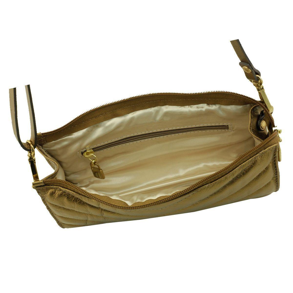 Bolsa com Pesponto Couro Bronze