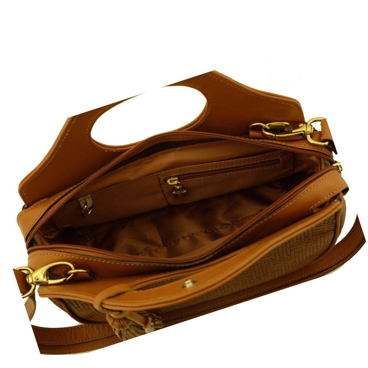 Bolsa Couro de Mão Caramelo