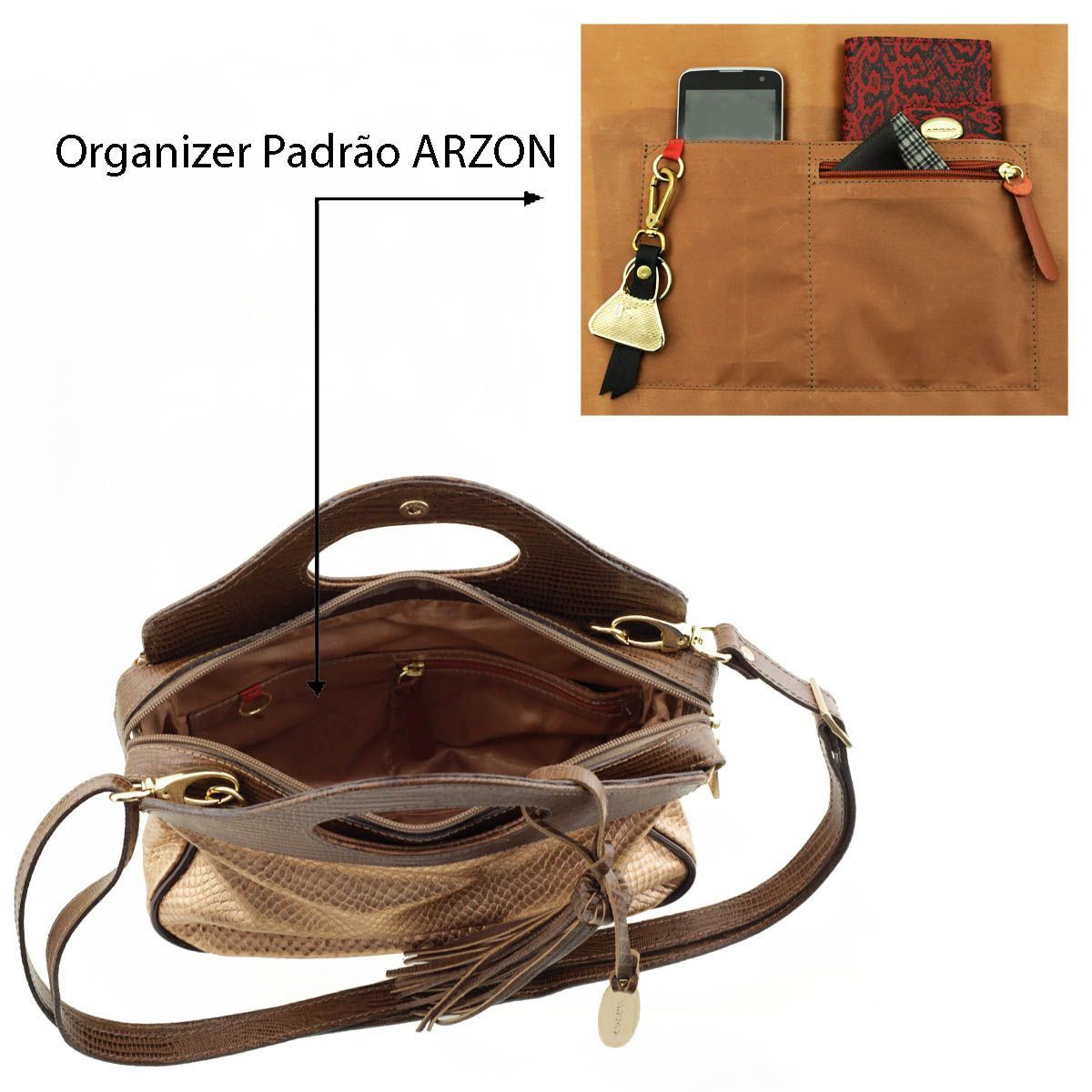 fc3016f2f3 ... Bolsa Couro de Mão Marrom com Metalizado Rosê - ARZON ...