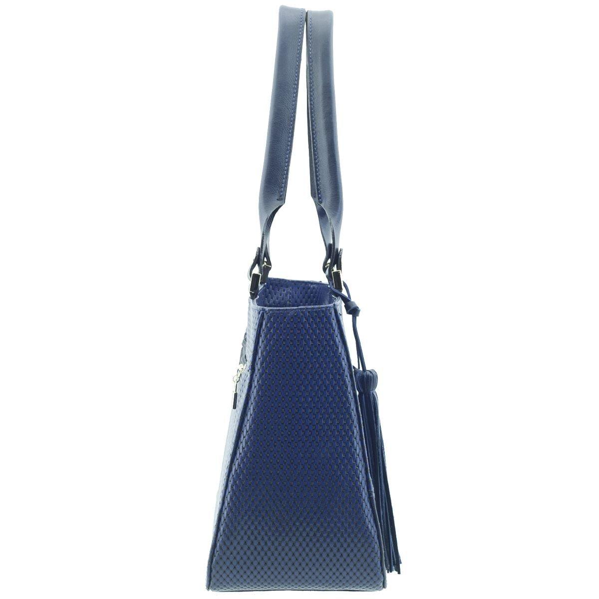 Bolsa Couro Estruturada Azul