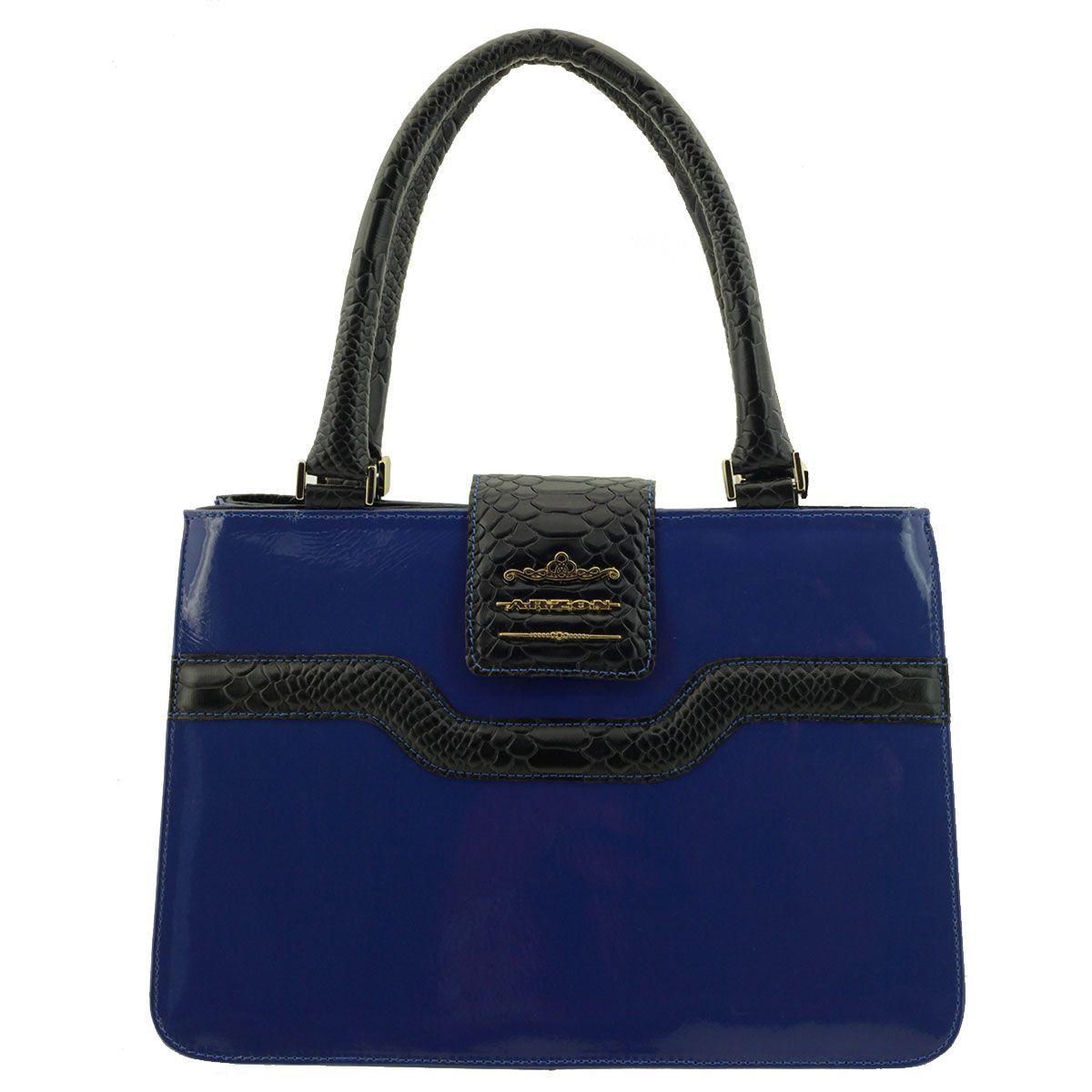 Bolsa Couro Estruturada Divisórias Azul
