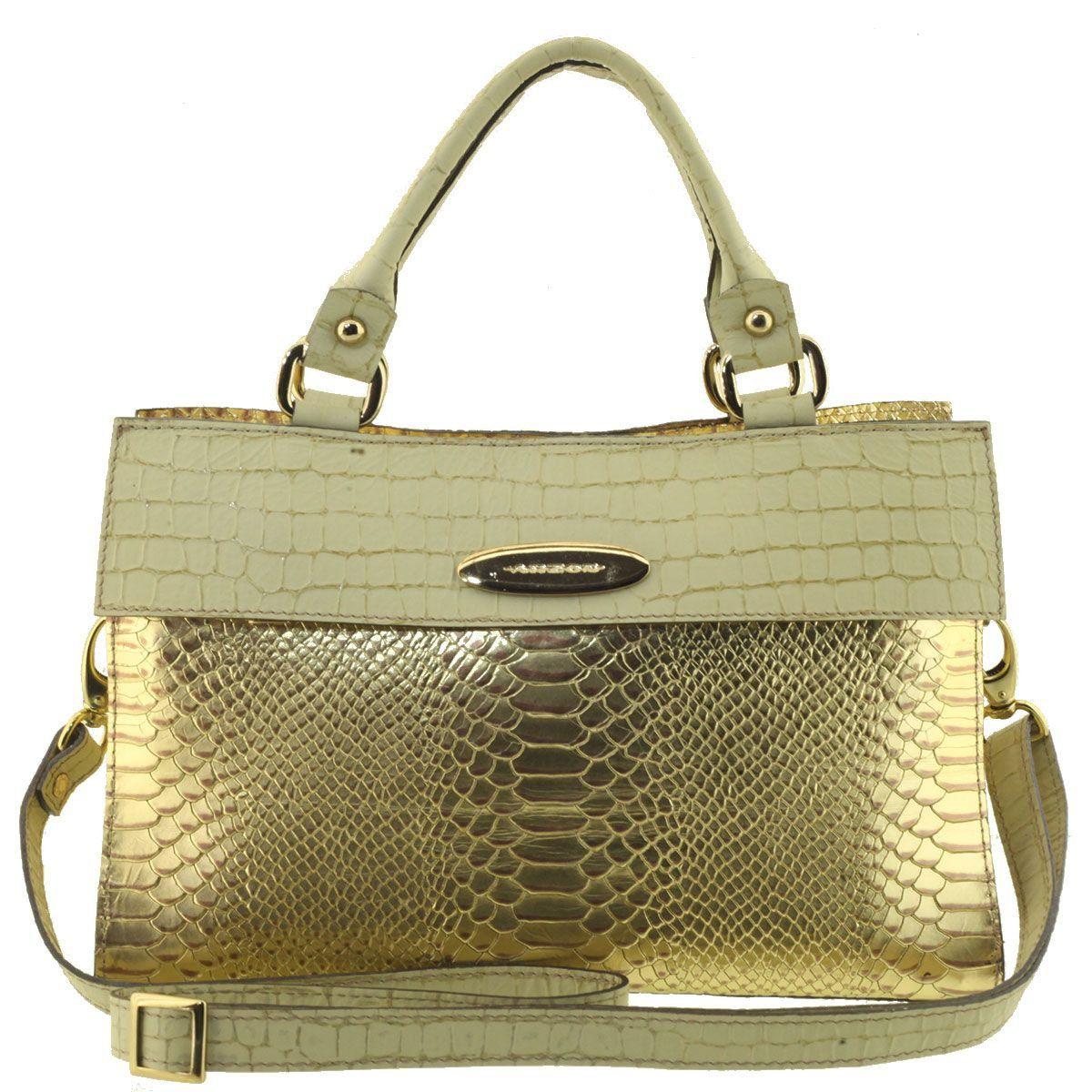 Bolsa Couro Feminina Dourada