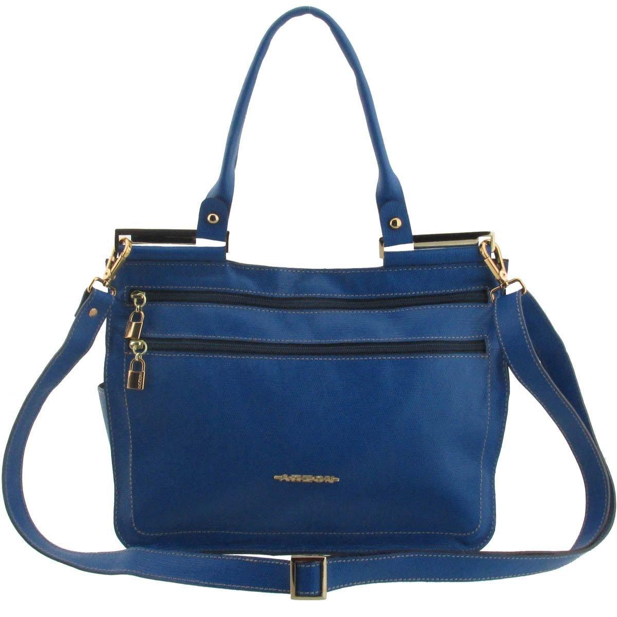Bolsa Couro Envelope Azul