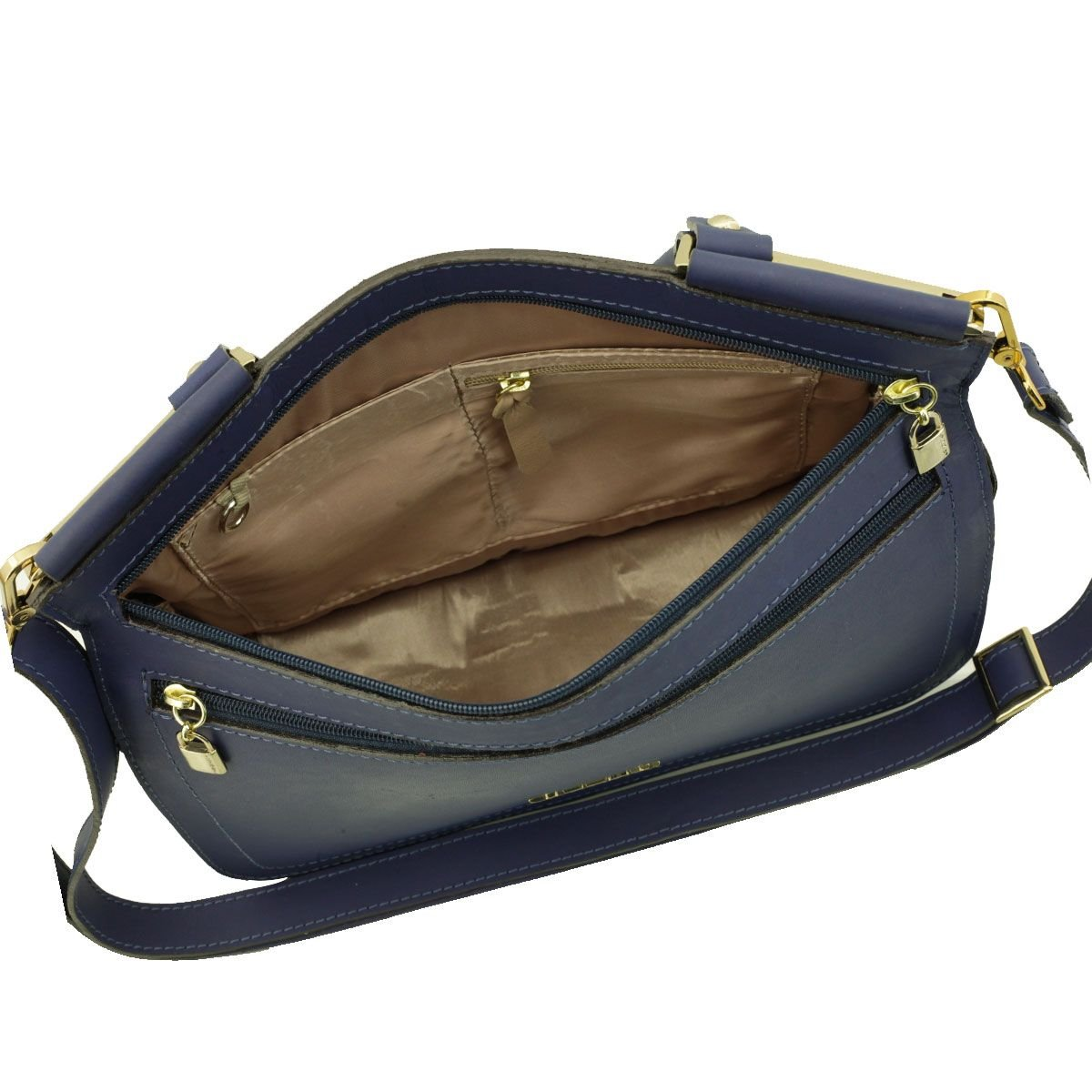 Bolsa Couro Envelope Azul Marinho