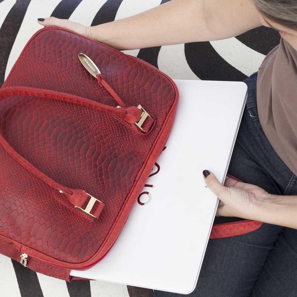 Bolsa Couro Para Notebook Vermelha
