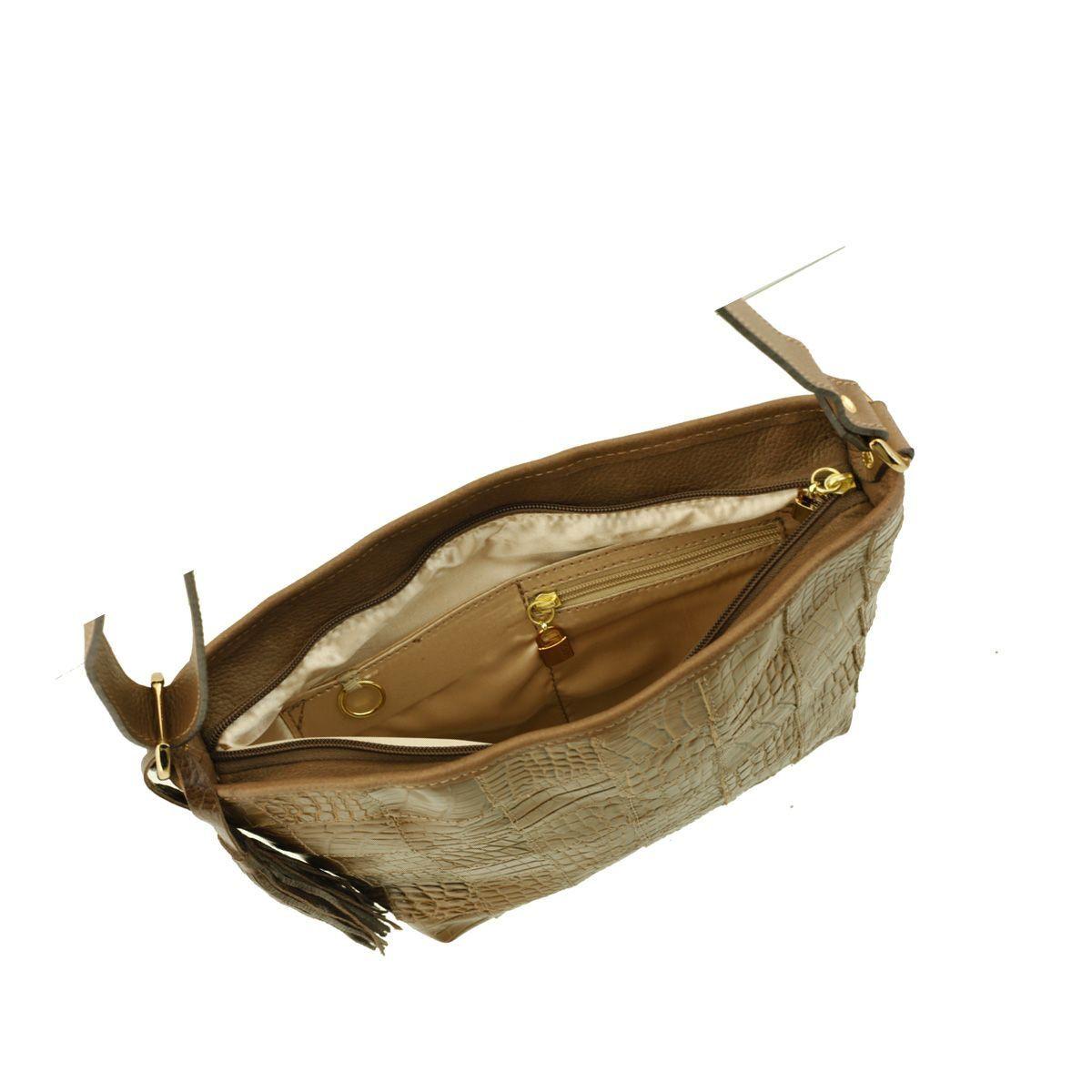 Bolsa Couro Quadriculado Caramelo