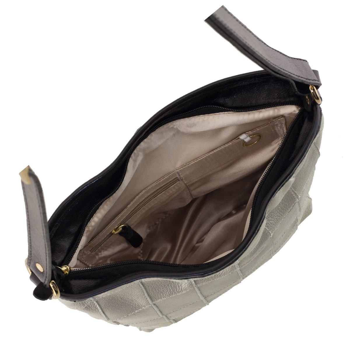 Bolsa Couro Quadriculado Prata