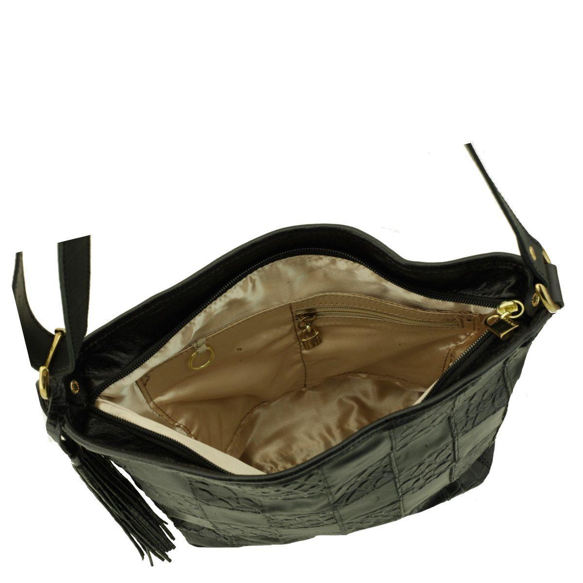 Bolsa Couro Quadriculado Preto