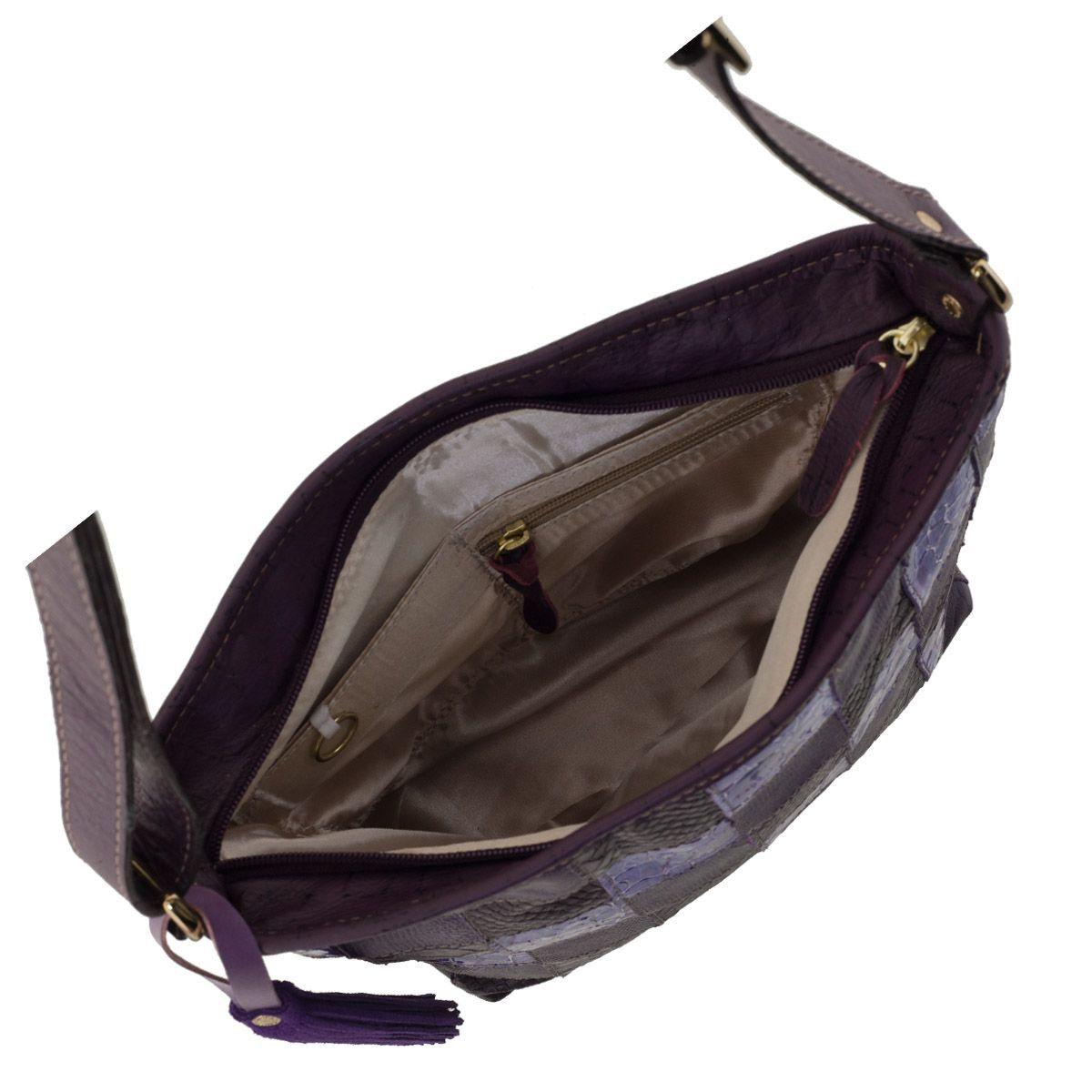 Bolsa Couro Quadriculado Roxo