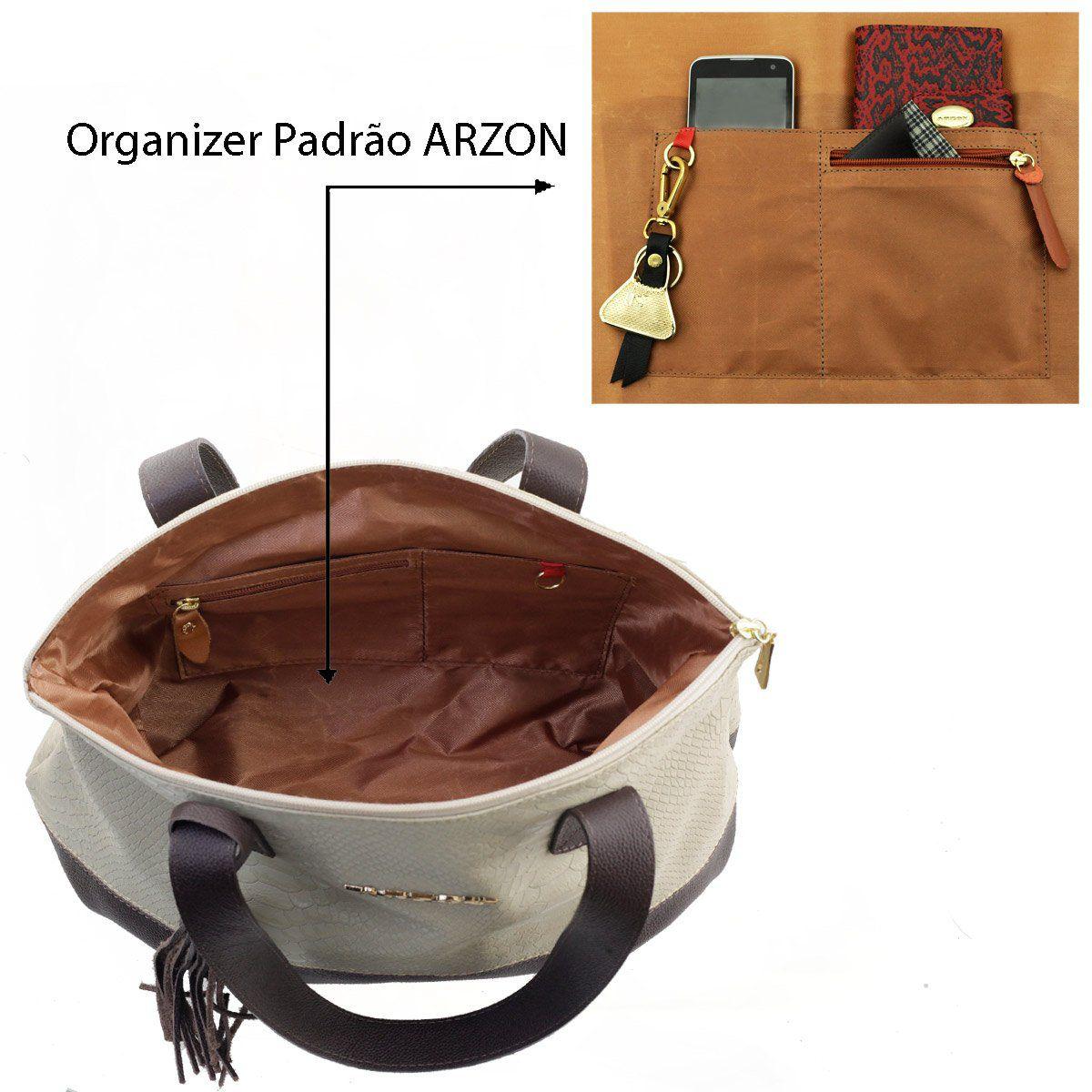 Bolsa de Couro ARZON Areia com Café