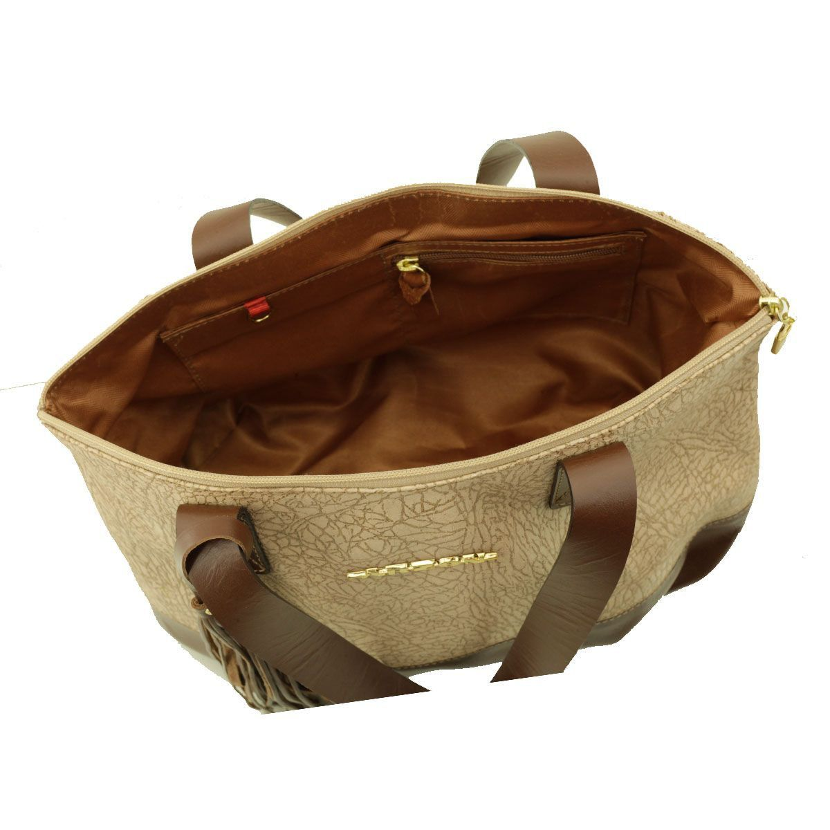 Bolsa de Couro ARZON Areia com Chocolate
