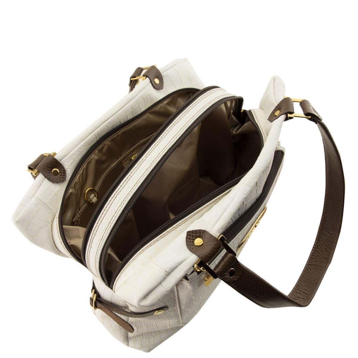 Bolsa de Couro com DIvisórias Off-White