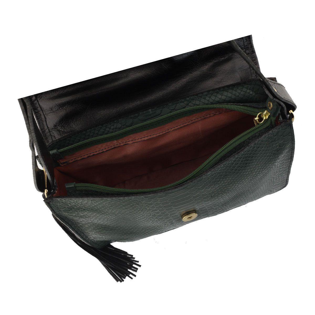Bolsa de Couro Feminina Verde Escuro