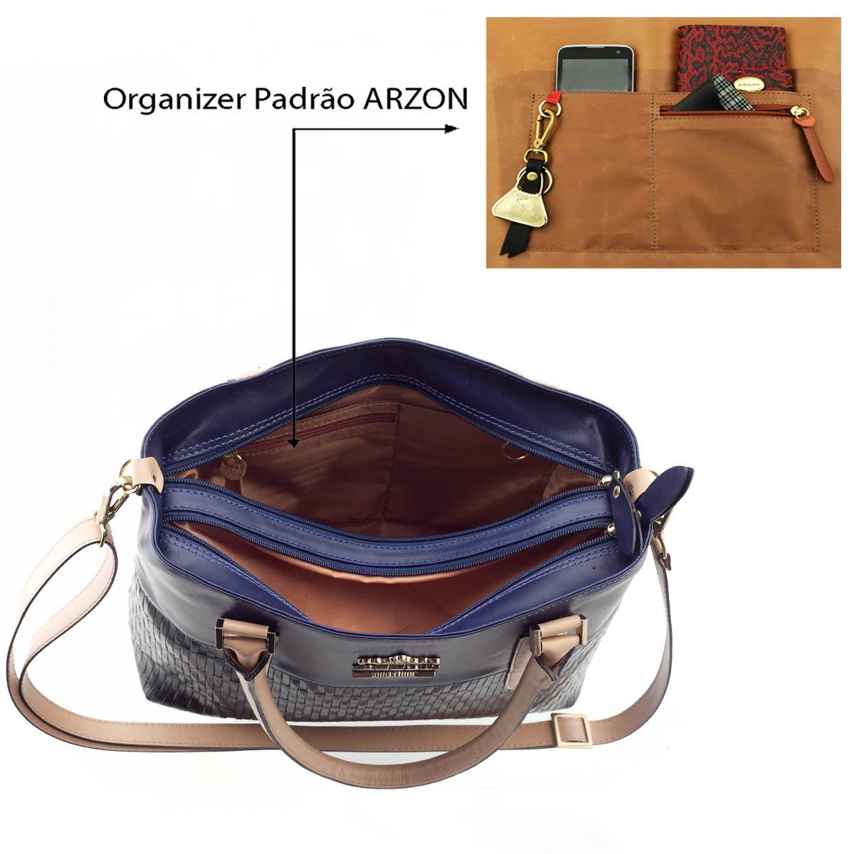 Bolsa de Couro Legítimo ARZON Preto com Azul Marinho